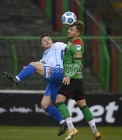 4th May 2021. Danske Bank Irish league,The Oval,Belfast.. Glentoran v Coleraine . Glentorans Robbie McDaid   in action with Coleraines Josh Carson . Mandatory Credit Inpho/Stephen Hamilton