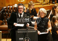 Press Eye - Belfast -  Northern Ireland - 14th December 2015 - Photo by William Cherry. Wendy Austin and John Toal present the BBC Radio Ulster 40th Birthday gala concert at the Ulster Hall, Belfast.