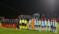 Press Eye - Belfast - Northern Ireland - 5th October 2019. European Women\'s U19 Championship 2020 Qualifying Round - Ballymena Showgrounds.  Northern Ireland Vs Moldova.. The team line out. . Picture by Jonathan Porter/PressEye