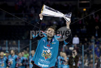Press Eye - Belfast -  Northern Ireland - 06th April 2019 - Photo by William Cherry/Presseye. Belfast Giants\' Patrick Dwyer pictured with the Elite Ice Hockey League trophy after being crowned Champions at the SSE Arena, Belfast.       Photo by William Cherry/Presseye