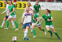Press Eye - Belfast - Northern Ireland - 8th October 2019. European Women\'s U19 Championship 2020 Qualifying Round -  Northern Ireland Vs Norway, Seaview. Northern Ireland\'s Caitlin McGuiness with Norway\'s Emilie Marie Joramo.. Picture by Jonathan Porter/PressEye