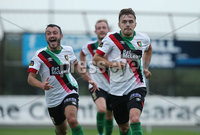 Danske Bank Premiership, Showgrounds, Ballymena  24/8/2019. Ballymena United  vs Glentoran FC . Glentoran Robbie McDaid celebrates scoring the winning goal with his team mates against Ballymena United.. Mandatory Credit  INPHO/Brian Little