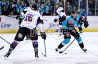 Press Eye - Belfast -  Northern Ireland - 03rd March 2019 - Photo by William Cherry/Presseye. Belfast Giants\' Kyle Baun with Manchester Storm\'s Dallas Ehhrhardt during Sunday afternoons Elite Ice Hockey League game at the SSE Arena, Belfast.
