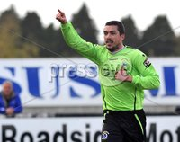 © Presseye Press Eye Ltd- Northern Ireland-April 21st 2012. Mandatory Credit Photo by Presseye.com. . Carling Premiership. Glenavon v Dungannon Swifts. Mourneview Pk.. Swifts\' Emmet Friars. celebrates after scoring to make it 2-2. during Satuday\'s game at Mourneviev Park.