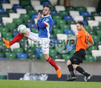PressEye-Northern Ireland- 18th April 2017-Picture by Brian Little/PressEye. Linfield   Andrew Watewrworth   and Glenavon Andrew Doyle  during Easter Tuesday\'s Danske Bank Section A match at Windsor Park.. Picture by Brian Little/PressEye