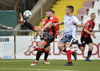 6th August 2018. Danske Bank Irish premier league match between Crusaders and Ards at Seaview.. Crusaders Rory Patterson in action with Ards Calum Byers.  Mandatory Credit: Stephen Hamilton /Inpho