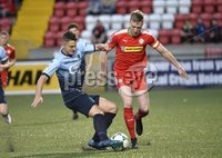 7th August 2018. Danske Bank Irish premier league match between Cliftonville and Institute at Solitude in Belfast.. Cliftonvilles Chris Curran  in action with Institutes Aaron Jarvis.  Mandatory Credit: Stephen Hamilton /Inpho