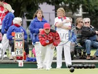 Northern Ireland- 18th June 2012 Mandatory Credit - Photo-Jonathan Porter/Presseye.  Bowls - Ladies British Isles Fours Final at Ward Park in Bangor Co. Down.  England vs Wales(red).  Wales\' Rhian Jones bowls.