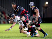 Guinness PRO14, Rodney Parade, Newport, Wales 1/12/2017. Dragons vs Ulster. Ulster\'s Christian Lealiifano is tackled by Dragons\' Gavin Henson. Mandatory Credit ©INPHO/Bob Bradford