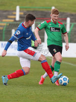 Danske Bank Premiership, The Oval, Belfast, Northern Ireland. 1/5/2021. Glentoran vs Linfield FC . Glentoran  Dale Gorman  and Linfield  Mark Haughey . Mandatory Credit INPHO/Presseye/Brian Little
