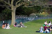 Press Eye - Belfast - Northern Ireland - 22nd February 2021. Members of the public take advantage of the milder weather and enjoy the outdoors at Botanic Avenue in Belfast. . Picture by Jonathan Porter/PressEye