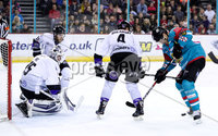 Press Eye - Belfast -  Northern Ireland - 10th March 2018 - Photo by William Cherry/Presseye. Belfast Giants Jonathan Ferland with Braehead Clan\'s Ryan Nie during Saturday evenings Elite Ice Hockey League game at the SSE Arena, Belfast.