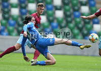 Press Eye-Belfast-Northern Ireland -27th July 2020. Sadlers\'s Peaky  Blinder Irish Cup Semi Final, National Stadium at Windsor Park, Belfast. . 27/7/2020. Ballymena United FC v Coleraine FC. Ballymena United\'s   Johnny Addis and Ben Doherty and Jamie Glackin  of Coleraine.. Mandatory Credit  Brian Little/PressEye