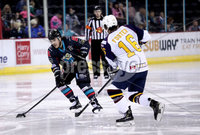 Press Eye - Belfast, Northern Ireland - 04th October 2019 - Photo by William Cherry/Presseye. Belfast Giants\' Liam Morgan with Guildford Flames\' TJ Foster during Friday nights EIHL game at the SSE Arena, Belfast.   Photo by William Cherry/Presseye