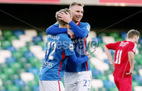 Irish Cup Fifth Round, Windsor Park, Belfast 6/1/2018. Linfield vs Glebe Rangers. Linfield\'s Kirk Millar celebrates scoring with team mates . Mandatory Credit ©INPHO/Jonathan Porter