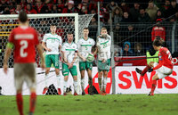 Press Eye - Belfast -  Northern Ireland - 12th November 2017 - Photo by William Cherry/Presseye. Northern Ireland\'s Paddy McNair, Chris Burnt, Jonny Evans and George Saville with Switzerland\'s Ricardo Rodriguez during Sunday nights World Cup Play Off 2nd leg game at St. Jakob-Park, Basel.