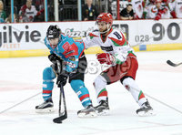 11 November 17, Mandatory Credit ©Press Eye/Darren Kidd.  Belfast Giants Steve Saviano with Cardiff Devils Andrew Hotman during Saturday nights Elite League game at the SSE Arena, Belfast. Photo by Darren Kidd/Presseye
