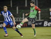 . Bet McLean League Cup Round 3, The Oval, Belfast 30/10/2018. Glentoran vs Coleraine. Glentorans Curtis Allen  in action with Coleraines Gareth Mcconaghie. Mandatory Credit INPHO/Stephen Hamilton.