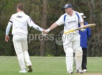 © Presseye Press Eye Ltd- Northern Ireland. May 5th 2012. Mandatory Credit Photo by Presseye.com. . NCU Ulster Bank Premier League. Instonians v CIYMS.. Inst\'s Andrew White, left, congratulates Jeremy Bray on hs century