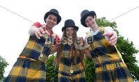 Press Eye - Larne Summer Festival Parade - 4th June 2016. Photograph Declan Roughan / Presseye. (L-R) Reece Maltman, Tanisha Bartley and Colm Crozier, Streetwise Community Circus