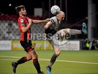 3/12/2019. Bet McLean league cup semi final between Crusaders and Institute at Seaview.. Crusaders  Philip Lowry in action with Institutes Dean Curry. Mandatory Credit Inpho/Stephen Hamilton