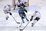 Press Eye - Belfast -  Northern Ireland - 13th January 2018 - Photo by William Cherry/Presseye. Belfast Giants Sebastien Sylvestre with Nottingham Panthers Steve Lee and Brett Perlini during Saturday nights Elite Ice Hockey League game at the SSE Arena, Belfast.