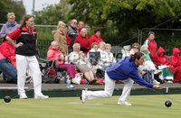 Northern Ireland- 18th June 2012 Mandatory Credit - Photo-Jonathan Porter/Presseye.  Bowls - Ladies British Isles Fours Final at Ward Park in Bangor Co. Down.  England vs Wales(red).  England\'s Amy Gowshall bowls.