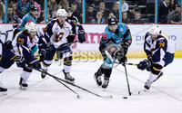 Press Eye - Belfast -  Northern Ireland - 03rd February 2019 - Photo by William Cherry/Presseye. Belfast Giants\' Dustin Johner with Guildford Flames\' Evan Janssen during Friday nights Elite Ice Hockey League game at the SSE Arena, Belfast.   Photo by William Cherry/Presseye