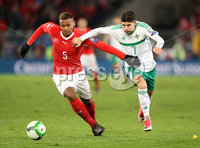 Press Eye - Belfast -  Northern Ireland - 12th November 2017 - Photo by William Cherry/Presseye. Northern Ireland\'s Jordan Jones with Switzerland\'s Manuel Akanji during Sunday nights World Cup Play Off 2nd leg game at St. Jakob-Park, Basel.