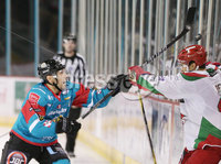 11 November 17, Mandatory Credit ©Press Eye/Darren Kidd.  Belfast Giants Steve Saviano with Cardiff Devils Bryce Reddick during Saturday nights Elite League game at the SSE Arena, Belfast. Photo by Darren Kidd/Presseye