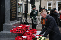 Wednesday 8th November 2017. Pictures by Press Eye . com. Stephen Gault lays a wreath in memory of his late father Samuel Gault during The Service at the unveiling and dedication of the memorial for the victims of the 1987 Enniskillen Poppy Day Bomb.. ©presseye©