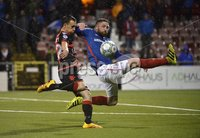 12th September 2017 . Danske Bank Irish premier league match between Crusaders and Linfield at Seaview.. Crusaders Paul Heatley fires the Crues into a 2-0 lead.  Photo by Stephen Hamilton /Inpho