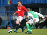 Presseye Northern Ireland - 15th May 2012 Mandatory Credit - Photo-William Cherry/Presseye. Harry Gregg Testimonial - Irish League XI v Manchester United. Manchester United\'s Wayne Rooney with Irish League XI\'s George McMullan during Tuesday nights Harry Gregg Testimonial at Windsor Park.