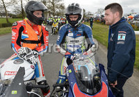 Mandatory Credit: Rowland White / PressEye. Motor Cycle Racing: 57th Tandragee 100 . Venue: Tandragee. Practice Day. Date: 21st April 2017. Caption: Last minute instructions for Guy Martin and William Dunlop