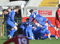 ©Press Eye Ltd - Northern Ireland -20th September 2014.  . Danske Bank Irish Premier league match between Cliftonville and Dungannon Swifts at Solitiude Belfast..  Dungannon\'s players celebrate Cliftonvilles Ryan Browns own goal.  Photo by Stephen Hamilton  Presseye.