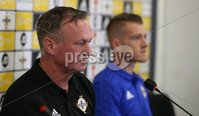 PressEye-Northern Ireland- 7th September  2018-Picture by Brian Little/ PressEye. Northern Ireland\'s captain Steven Davis attending a press conference  with manager Michael O\'Neill ahead of Saturday\'s  UEFA Nations League match against Bosnia and Herzegovina at the National Football Stadium at Windsor Park.. Picture by Brian Little/PressEye