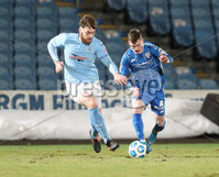 Danske Bank Premiership, Showgrounds, Ballymena.. 16/2/2021. Ballymena United  FC vs Coleraine FC . Ballymena United Conor Keeley against Coleraine Stewart Nixon  during Tuesday night\'s Danske Bank Premiership match at Ballymena Showgrounds.. Mandatory Credit  INPHO/Brian Little