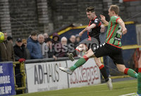Danske Bank Premiership, Seaview Belfast.. 10/02/2018.  Crusaders v Glentoran. Crusaders Gavin Whyte fires his side into a 4-1 lead. Mandatory Credit ©INPHO/Stephen Hamilton.