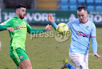 Bet McLean Cup Semi-Final, Showgrounds, Co. Antrim 10/2/2018. Ballymena United vs Cliftonville. Ballymena\'s Kyle Owens with Cliftonville\'s Joe Gormley. Mandatory Credit ©INPHO/Jonathan Porter
