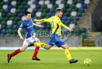 Danske Bank Premiership, Windsor Park, Belfast 10/2/2018. Linfield vs Dungannon Swifts. Linfield\'s Stephen Fallon in action with Ryan Harpur of Dungannon. Mandatory Credit ©INPHO/Declan Roughan