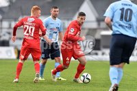 © Press Eye - Belfast - Northern Ireland 21st November 2015.. Danske Bank premiership.  Ballymena v Portadown.. Ballymena\'s Matthew Tipton. and Ports\' Keith OHara, right and Robert Garrett. during Saturday\'s match at The Showgrounds. Photo by TONY HENDRON/Presseye.