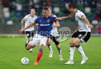 Press Eye - Belfast -  Northern Ireland - 10th July 2019 - Photo by William Cherry/Presseye/Inpho. Linfield\'s Andy Waterworth with Rosenborg\'s Even Hovland during Wednesday nights Champions League, Qualifying First Round, 1st Leg game at the National Stadium at Windsor Park, Belfast.