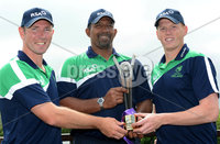 Mandatory Credit: Rowland White/Presseye. Cricket Ireland Press Conference to announce Squad for Austalian game at Stormont. Venue: Stormont. Date: 11th June 2012. Caption: Andrew White, Phil Simmons and Kevin O\'Brien with the RSA Trophy to be competed for against Australia
