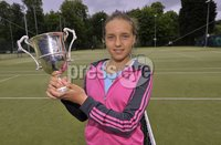 ©Russell Pritchard / Presseye  - 9th June 2012. Tennis : Ulster Senior Open at Belfast Boat Club.. Ladies Singles Winner Karola Bejenaru. ©Russell Pritchard / Presseye