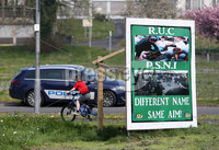 Press Eye - Belfast - Northern Ireland - 20th April 2019 -  . General view of an anti PSNI sign during the Easter Republican commemoration in the Kilwilkee Housing Estate, Lurgan, County Armagh organised by Republican Sinn Fein.. Photo by Kelvin Boyes  / Press Eye..