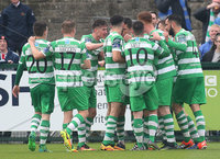 ©/Presseye.com - 19th May 2017.  Press Eye Ltd - Northern Ireland - Airtricity League Premier Division - Derry City V Shamrock Rovers. Shamrock Rovers\' players celebrate Graham Burke\'s goal.. Mandatory Credit Photo Lorcan Doherty / Presseye.com