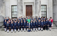 Press Eye - Belfast -  Northern Ireland - 17th May 2017 - Photo by William Cherry. Claire McCollum, one of the presenters of this year's BBC Proms in the Park at Castle Coole pictured with children and teachers from the St Lawrence's Primary School choir in Fintona, winners of this year's BBC Radio Ulster School Choir of the Year, helped to launch this year's BBC Proms in the Park Northern Ireland at an event in Castle Coole, outside Enniskillen, earlier today (Wednesday). This year's BBC Proms in the Park will come live from the grounds of the National Trust property on Saturday 9 September, with support from Fermanagh and Omagh District Council and Tourism Northern Ireland