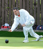 Mandatory Credit: Rowland White/Presseye. Bowls: Inter-Association . Teams: Private Greens League (red and white) v Provincial Bowling Association (white). Venue: Belmont. Date: 2nd June 2012. Caption: Martin McHugh, PGL