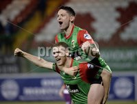 . Bet McLean League Cup Round 3, The Oval, Belfast 30/10/2018. Glentoran vs Coleraine. Glentorans players celebrate after a late penalty shoot out puts them through to the next round. Mandatory Credit INPHO/Stephen Hamilton.