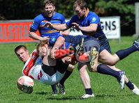 ©Press Eye Ltd Northern Ireland - 26th May 2012. Rugby league match between Ulster and Leinster at Malone rugby club Belfast.. Ulster\'s Matty Hadden  in action with Leinster\'s Rory Gleeson. Mandatory Credit - Picture by Stephen Hamilton /Presseye.com. .